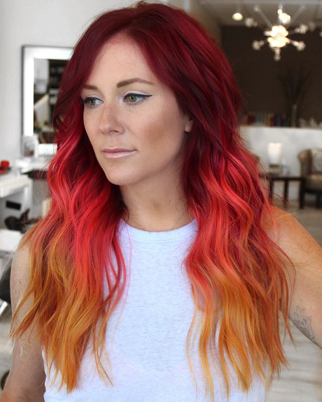 Colorful birds catch your eye-Colorful spirits keep you coming back for more.????????? ????????? Love this look of hand painted wefts and vivids. ????????? ????????? Weft work by @lizglosskc • install by me????????? ????????? For pricing and consideration of NBR extensions find us at NBRkc.com